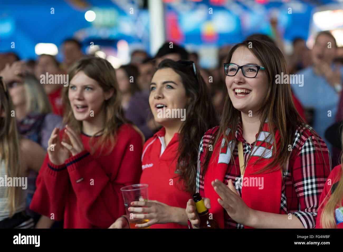 Leidenschaftliche Wales Rugby-Fans sehen Wales während der Rugby-Weltmeisterschaft 2015 in der Fanzone Cardiff Stockbild