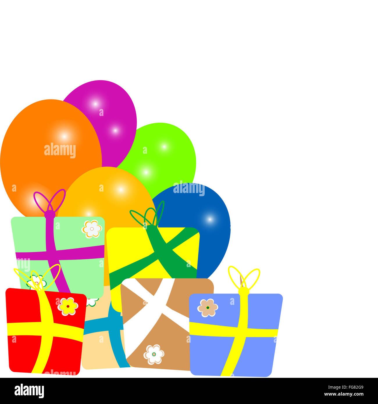 bunte Geschenkboxen mit Ballons Rahmen auf weißem Hintergrund ...