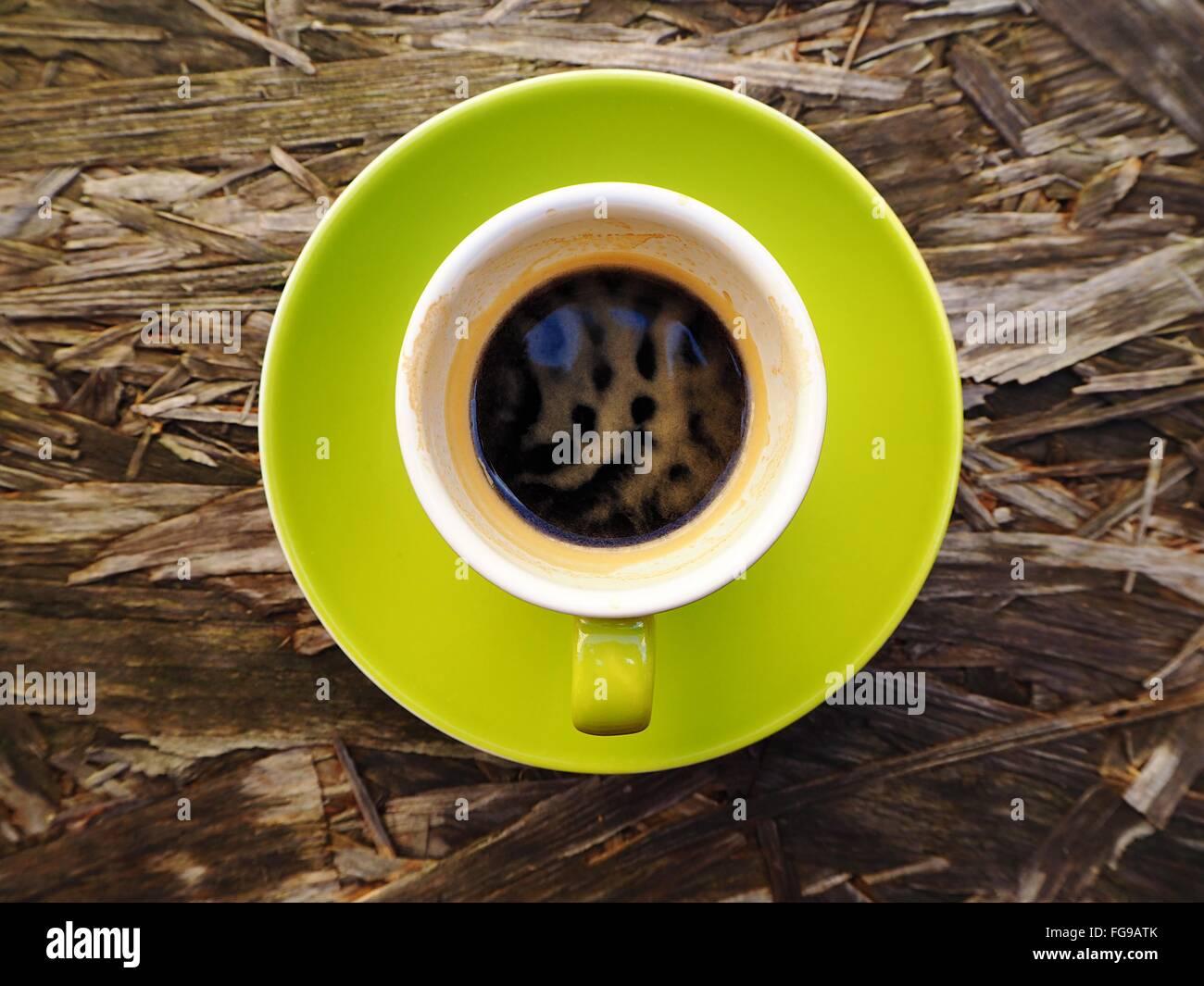 Direkt über dem Schuss Espresso Kaffee Stockbild