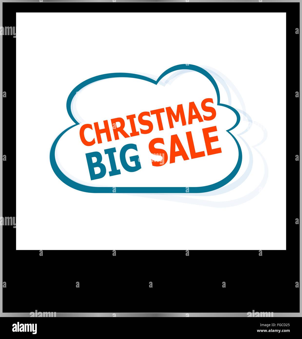 Weihnachten große Verkauf Word cloud auf Bilderrahmen, isoliert ...