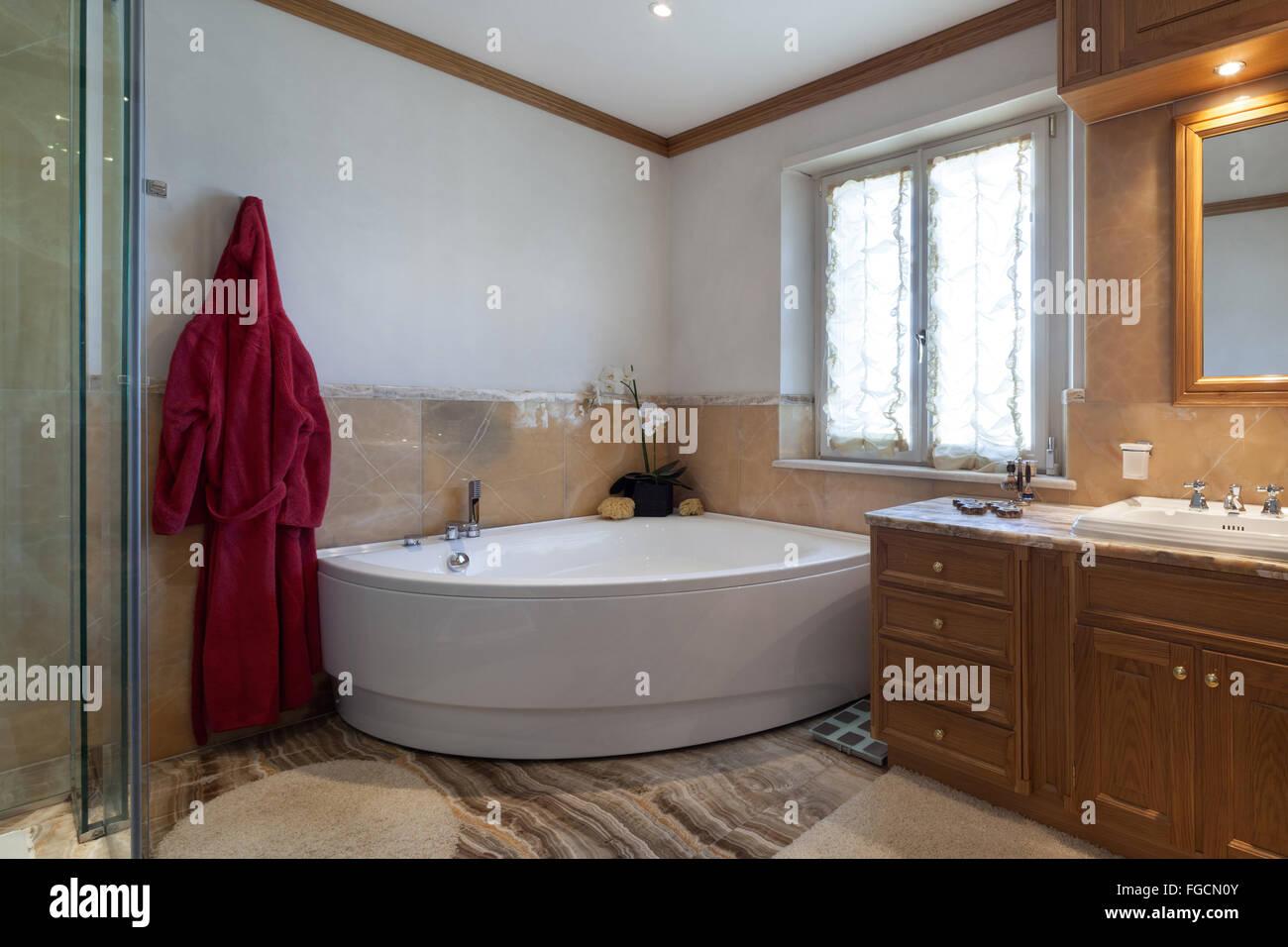 Architektur Klassisches Design Badezimmer Mit Badewanne Und Marmor