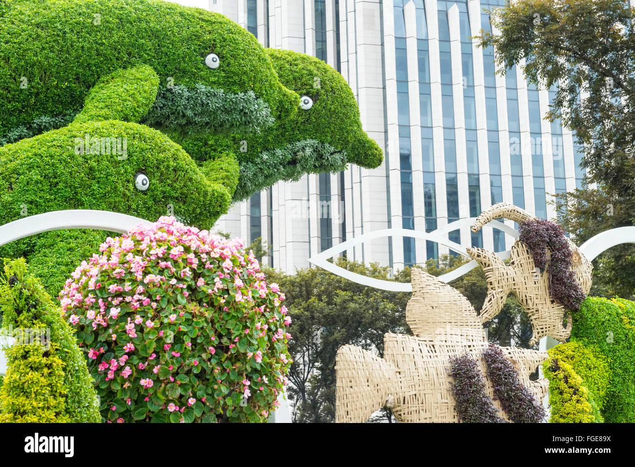 Prächtig Buchsbaum schneiden in Form von Delfinen, Shanghai, China #GB_67