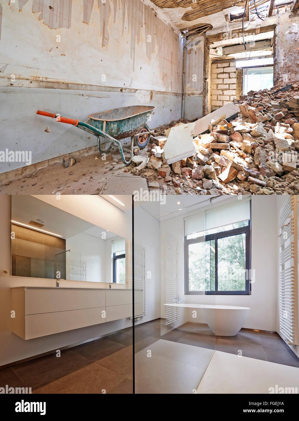 Badewanne in Corian, Wasserhahn und Dusche im Badezimmer Renovierung ...