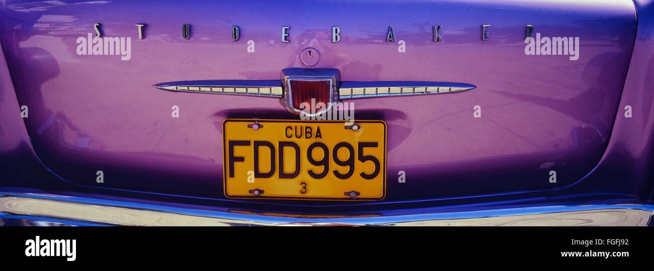50er Jahre Studebaker amerikanische Oldtimer hinten Details anzeigen. Kuba. Karibik Stockbild