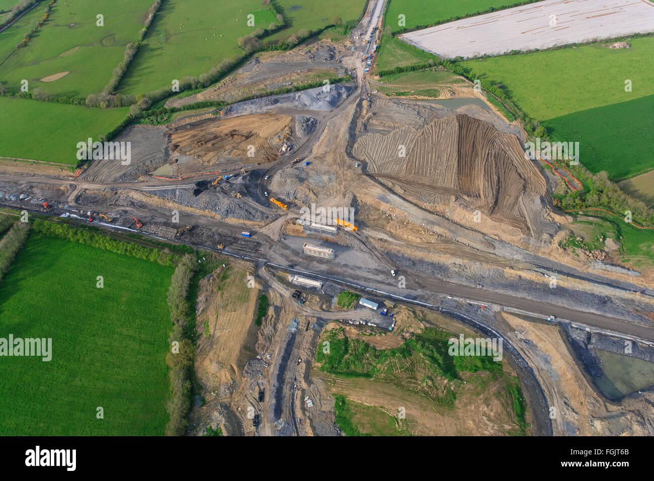 Straßeninfrastruktur Bau, Luftaufnahme Autobahn Straße im Bau uk Stockbild