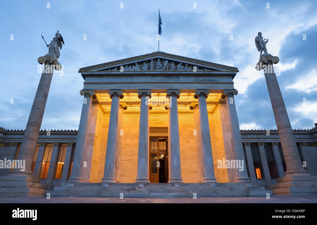 Athen - der Nationalakademie Gebäude in Morgen-Dämmerung. Stockbild