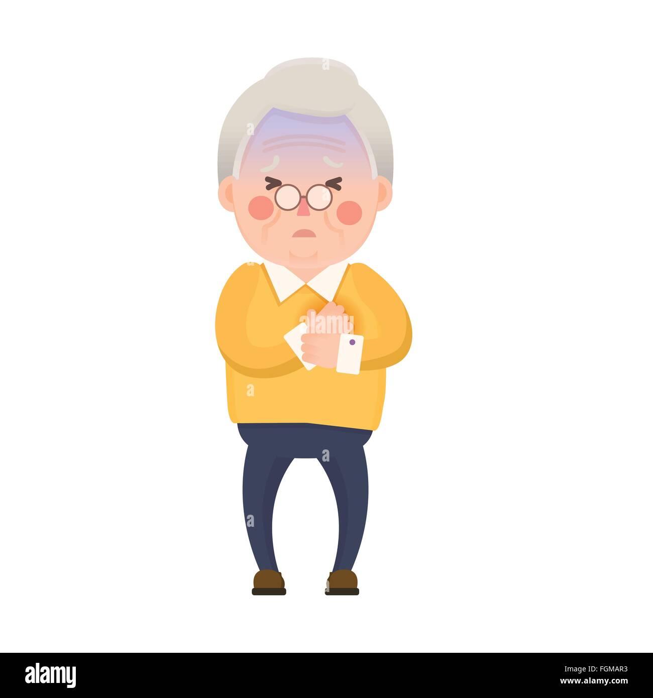 Vector Illustration Der Alte Mann Mit Schmerzen In Der Brust Herz