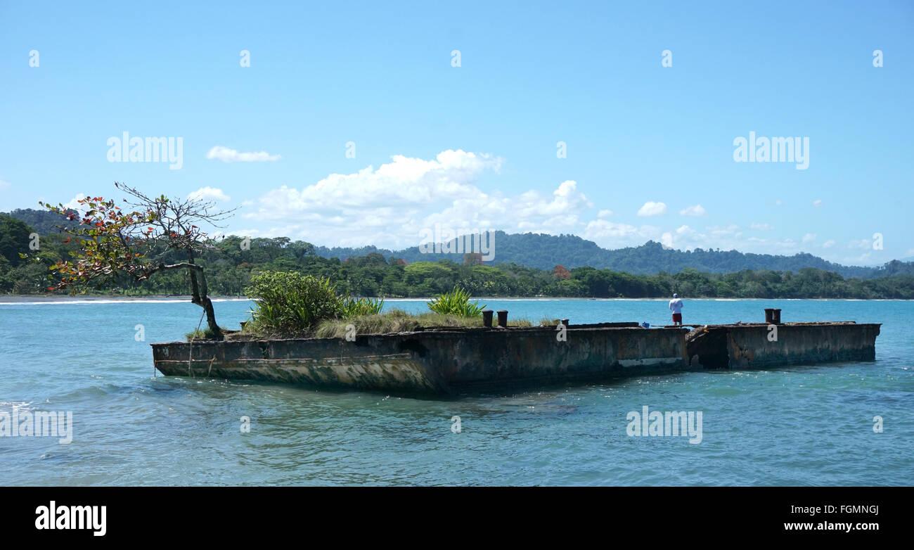 Schiff Wrack in Puerto Viejo Limon Costa Rica Stockbild