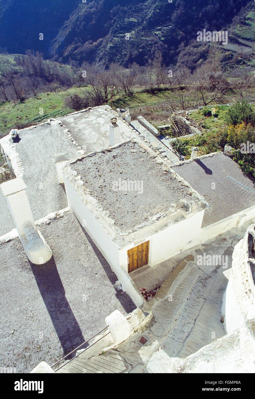 Traditionelle Architektur: Reihenhaus Dächer in Las Alpujarras. Capileira, Provinz Granada, Andalusien, Spanien. Stockbild