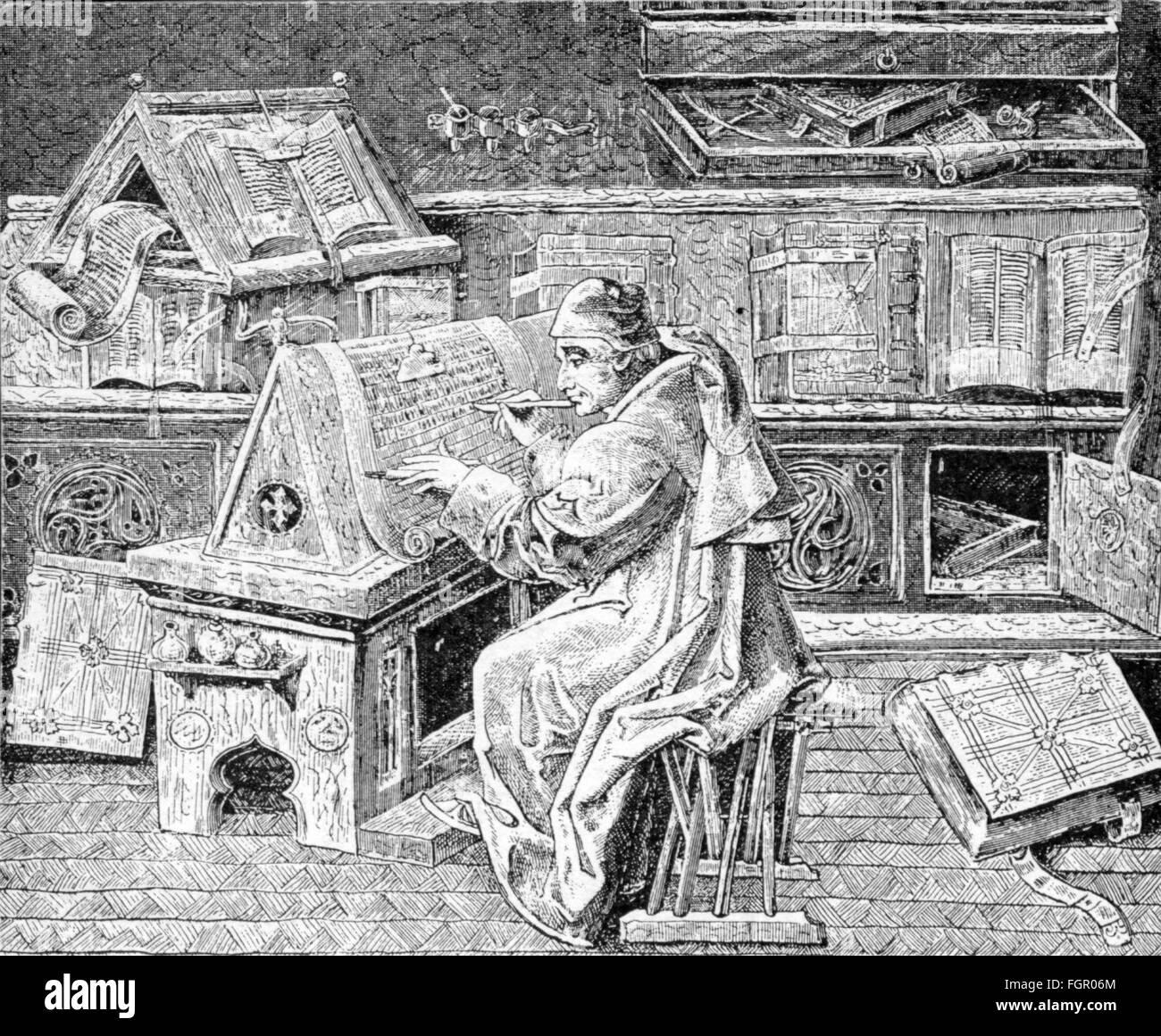 Religion Religiöse Orden Mönche Ein Mönch Kopieren Ein Manuskript