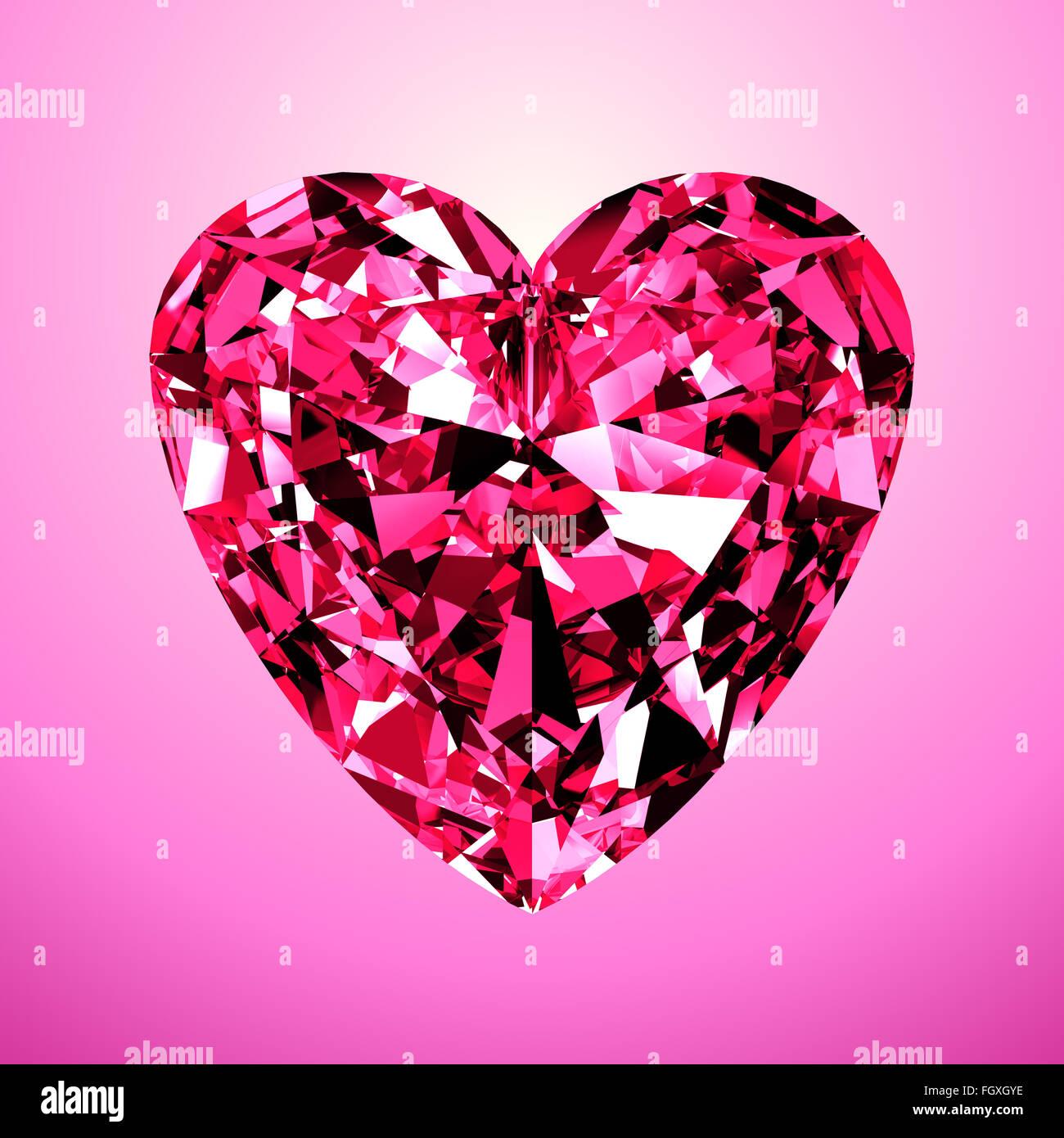 Rosa Diamantherz. 3D-Modell auf rosa Hintergrund. Stockbild