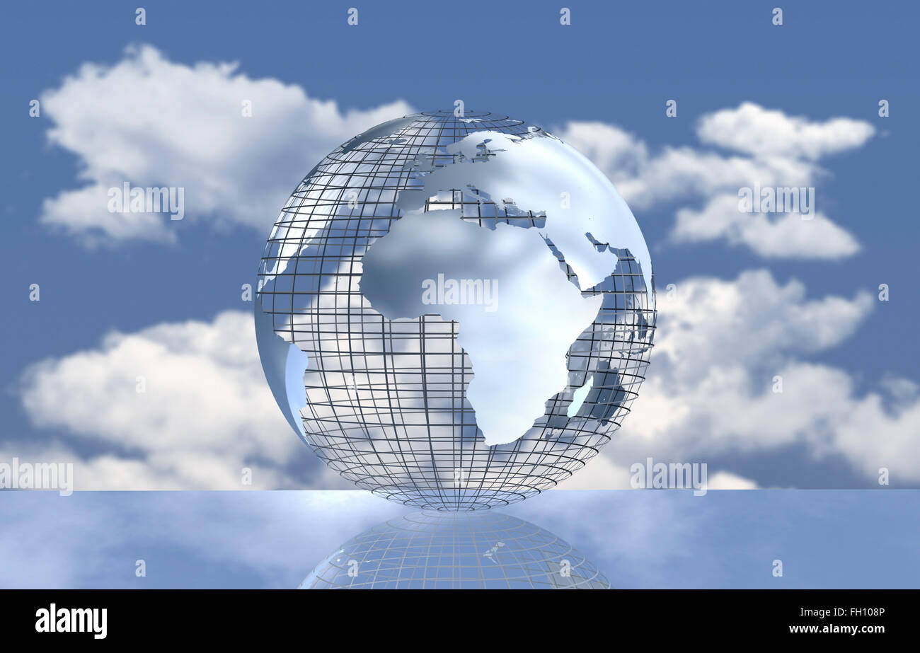 Computergrafik, globe gegen Wolken, Klima Stockbild