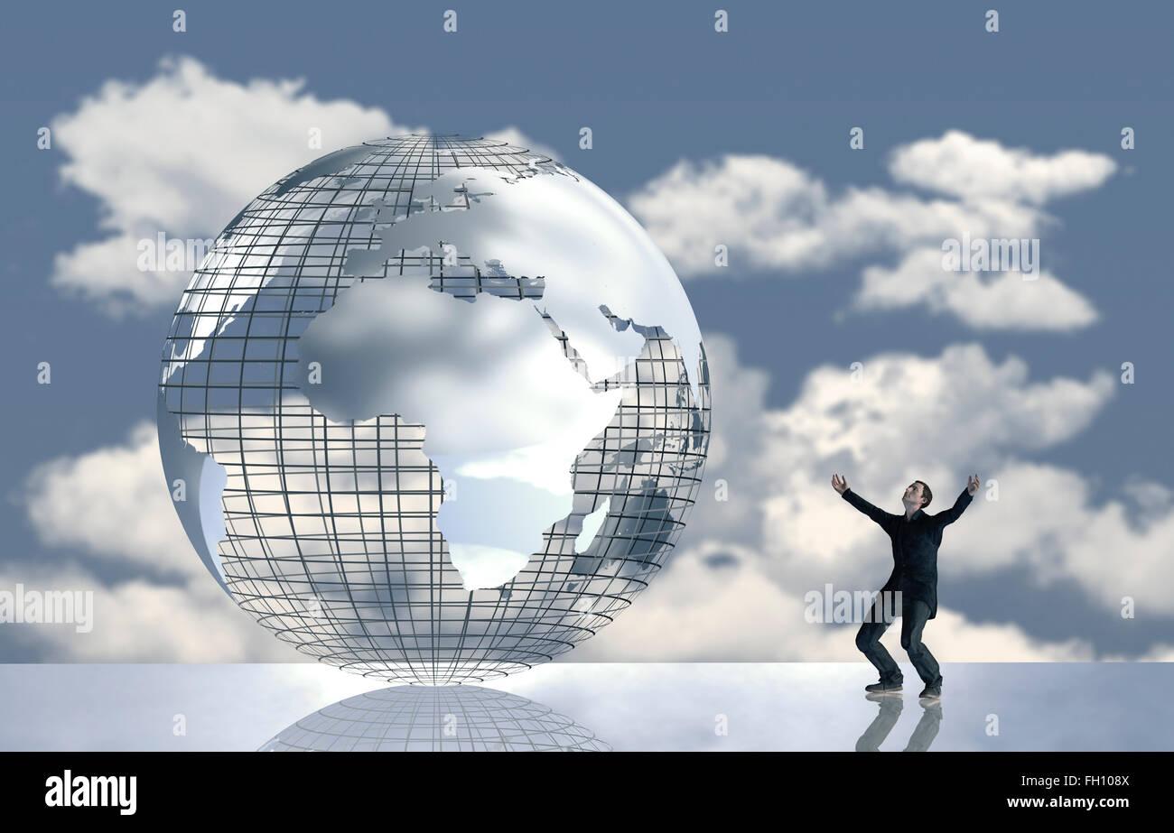 Computergrafik, Mann vor Globus mit Wolken, Freude Stockbild
