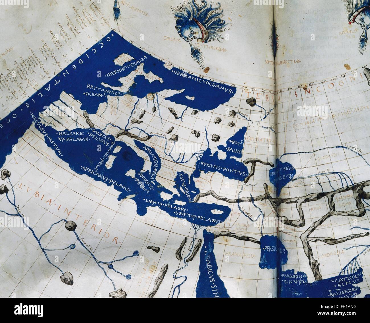 Manuskript Kopieren des Ptolemäus (100-170 n. Chr.) Weltkarte, Rekonstitution von Ptolemäus Geographie Stockbild