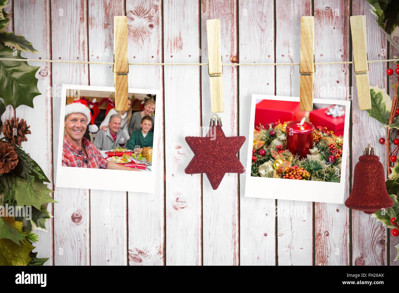 Weihnachtsbilder Suchen.Zusammengesetztes Bild Von Hängenden Weihnachtsbilder Stockfoto