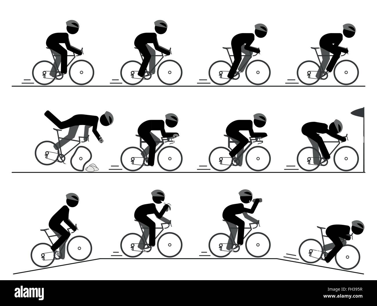 Fahrrad-Rennen-Piktogramm Stockbild