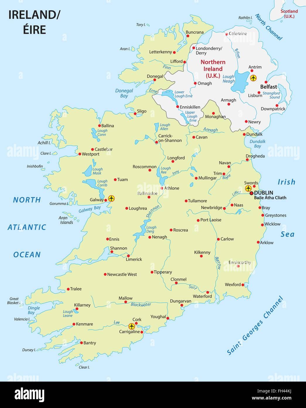 Irland Karte.Irland Karte Vektor Abbildung Bild 96592486 Alamy