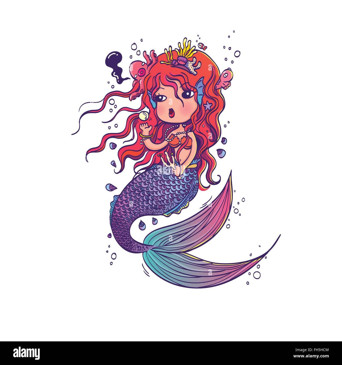 Meerjungfrau Gezeichnet