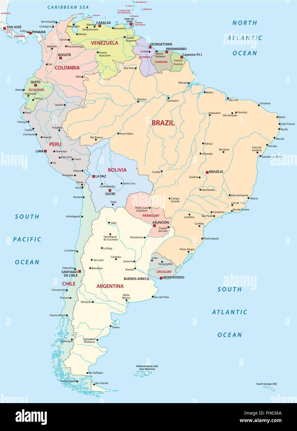 Physische Karte Lateinamerika.Politische Landkarte Von Amerika Stockfotos Politische
