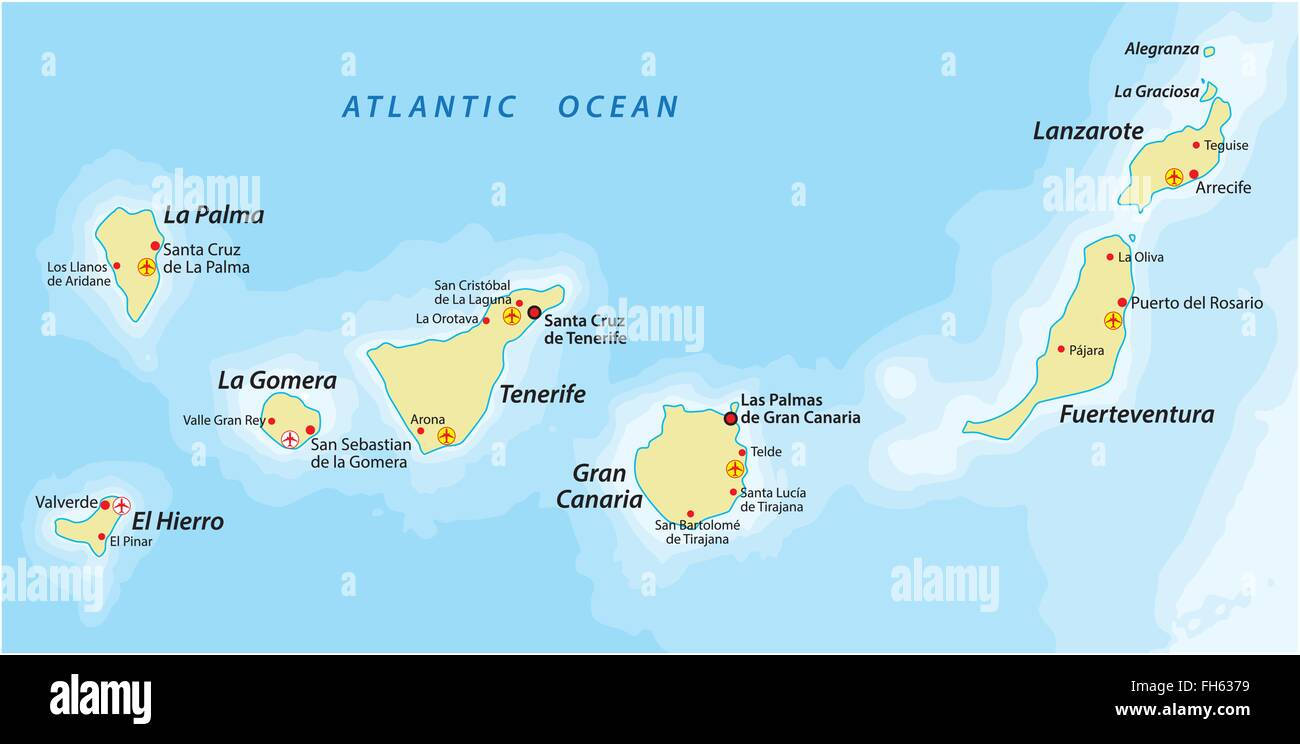Kanarische Inseln Karte.Map Canary Islands Stockfotos Map Canary Islands Bilder Alamy