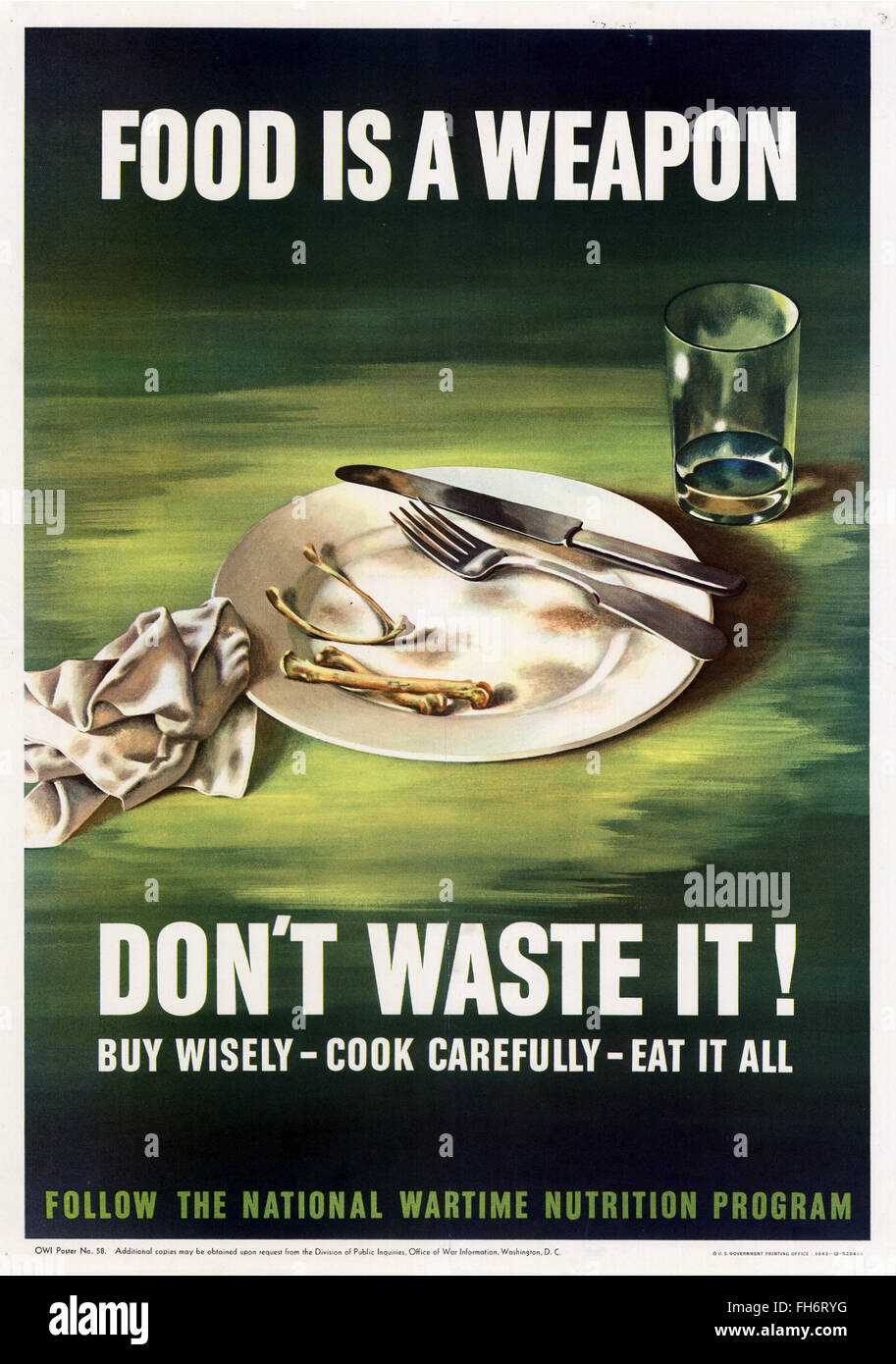 Rationierung des Futters ist eine Waffe - uns Propaganda-Plakat - WWII Stockbild