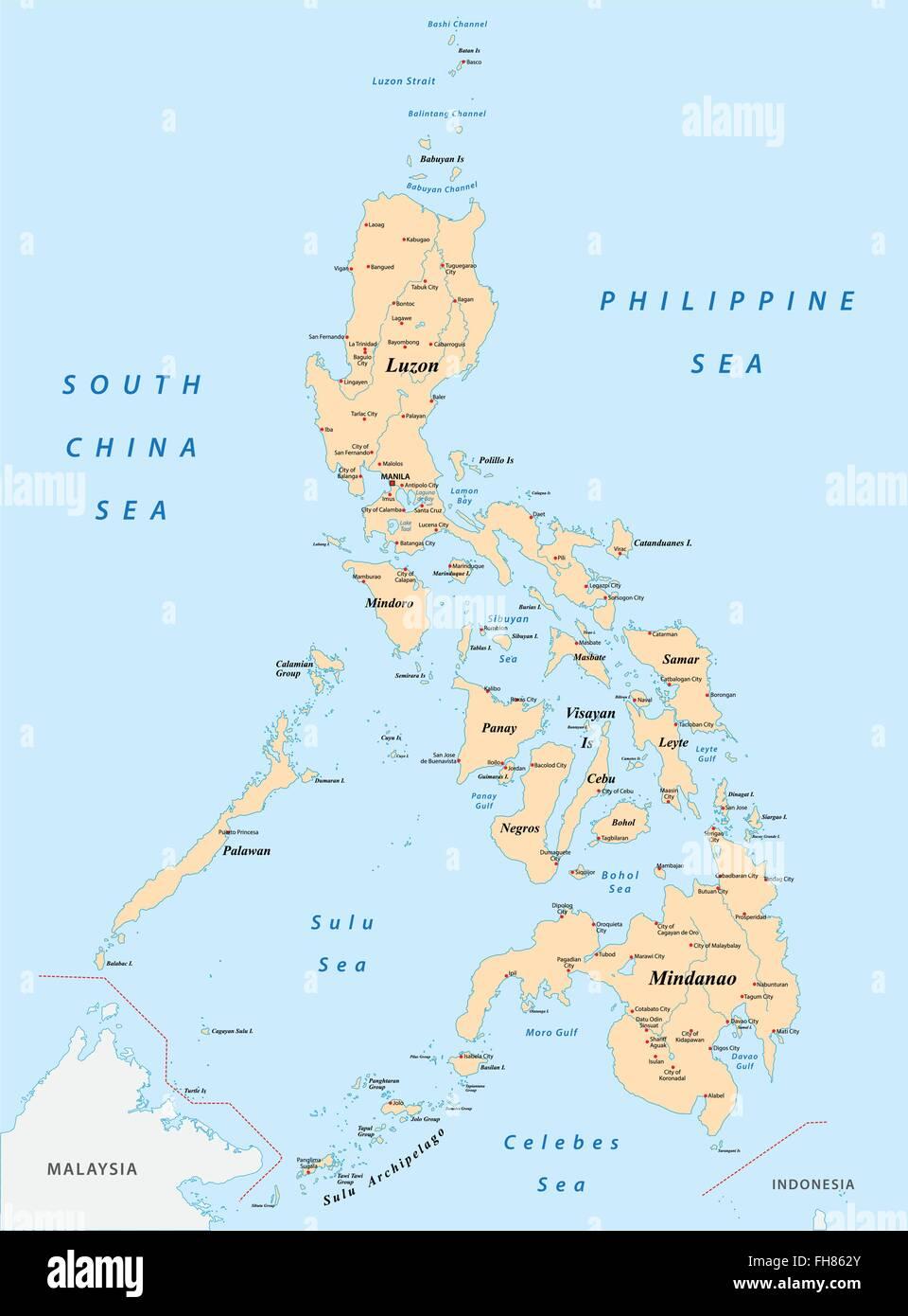 Philippinen Karte Vektor Abbildung Bild 96681395 Alamy