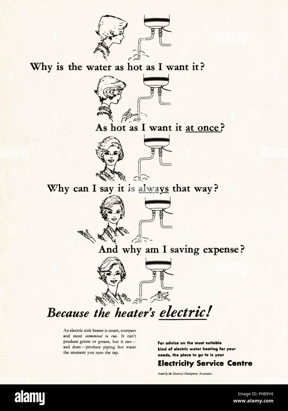Original Vintage advert von 1950. Werbung Werbung datiert 1956 Strom. 50s Retro Stockbild