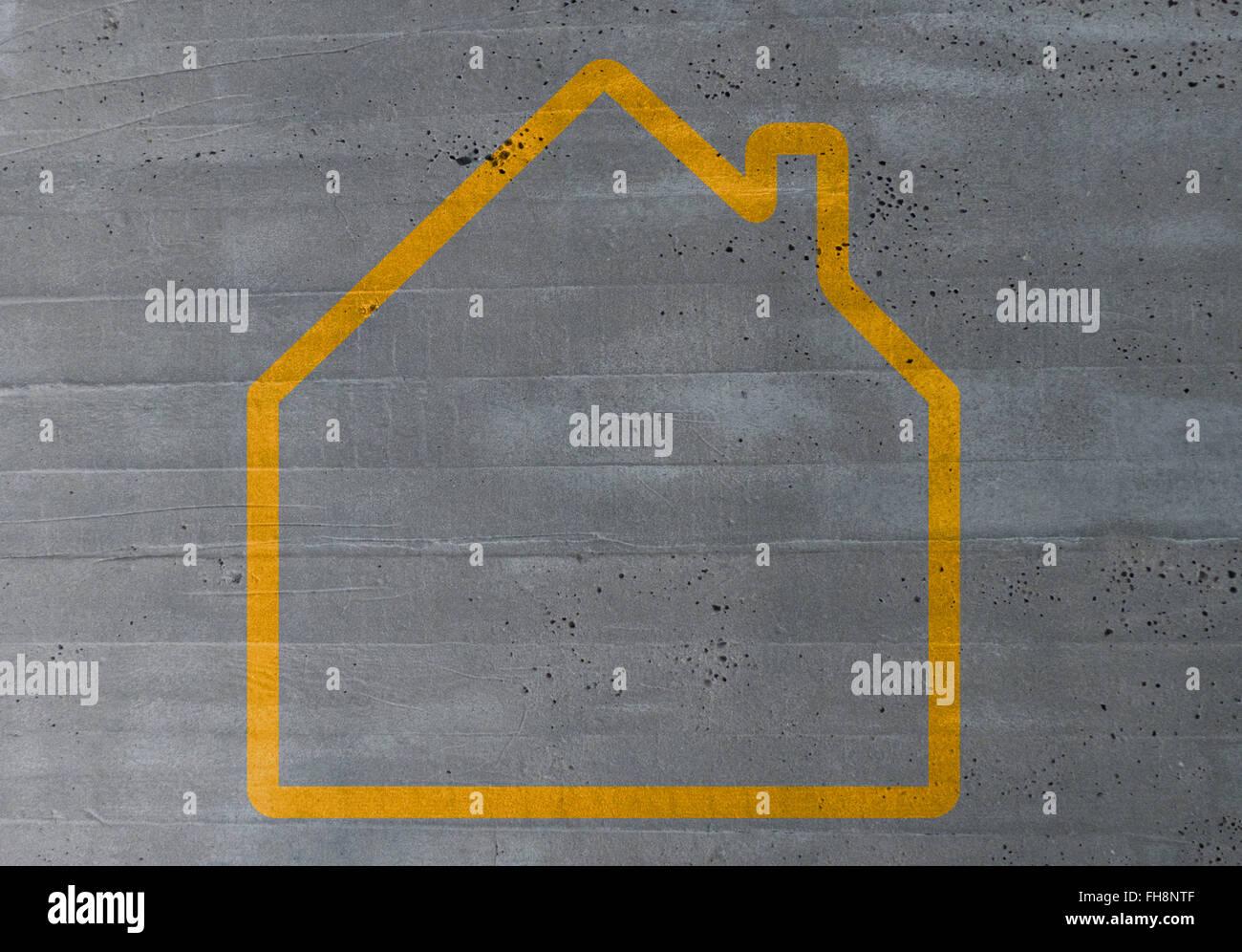 Haus-Konzept auf Zement Textur Hintergrund. Stockbild