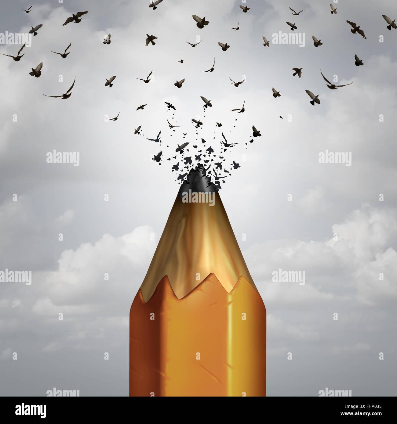 Bleistift und nehmen Flug Erfolg Kreativkonzept als Hauptdarsteller eines Bleistifts Tipp brechen in eine Gruppe Stockbild