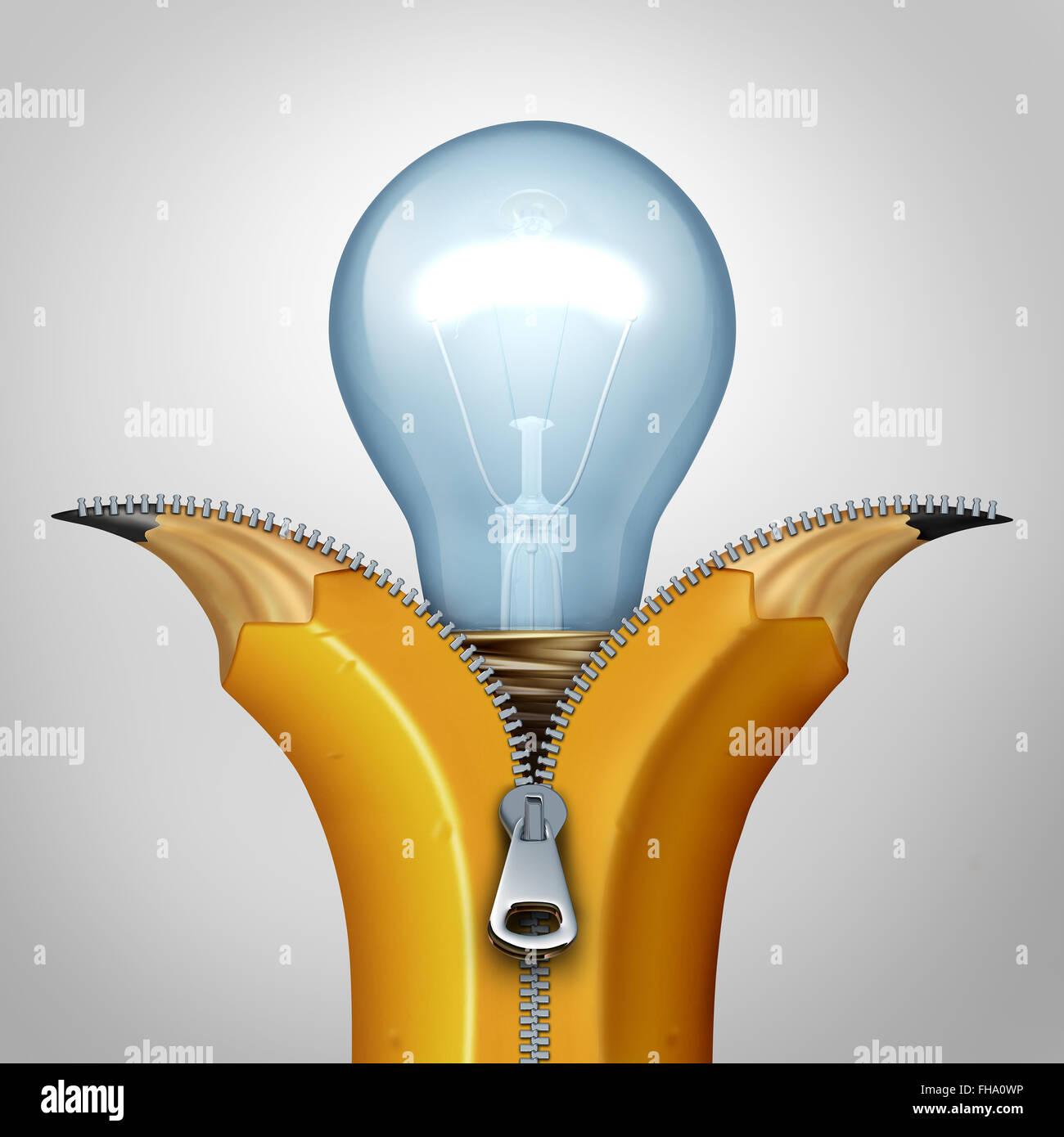 Öffnen Sie Kreativität Strategie und Konzept als eine geöffnete Reißverschluss an einem Bleistift Stockbild