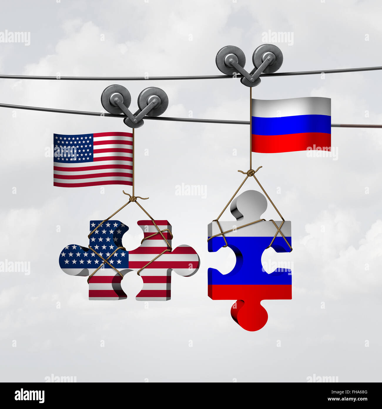 Amerikanischen und russischen Zusammenarbeit Erfolg als zwei Teile eines Jigsaw Puzzle Fron der Vereinigten Staaten Stockbild
