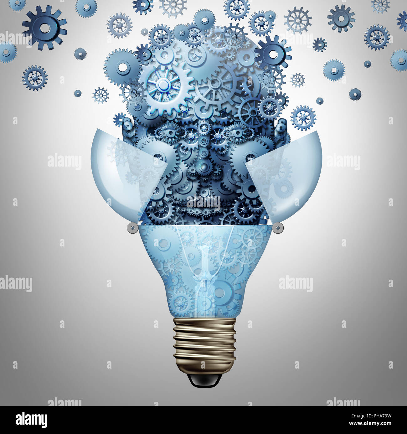 Künstliche Intelligenz-Ideen als Roboter Kopf Symbol aus Getriebe und Zahnräder entsteht aus einer offenen Glühlampe Stockfoto