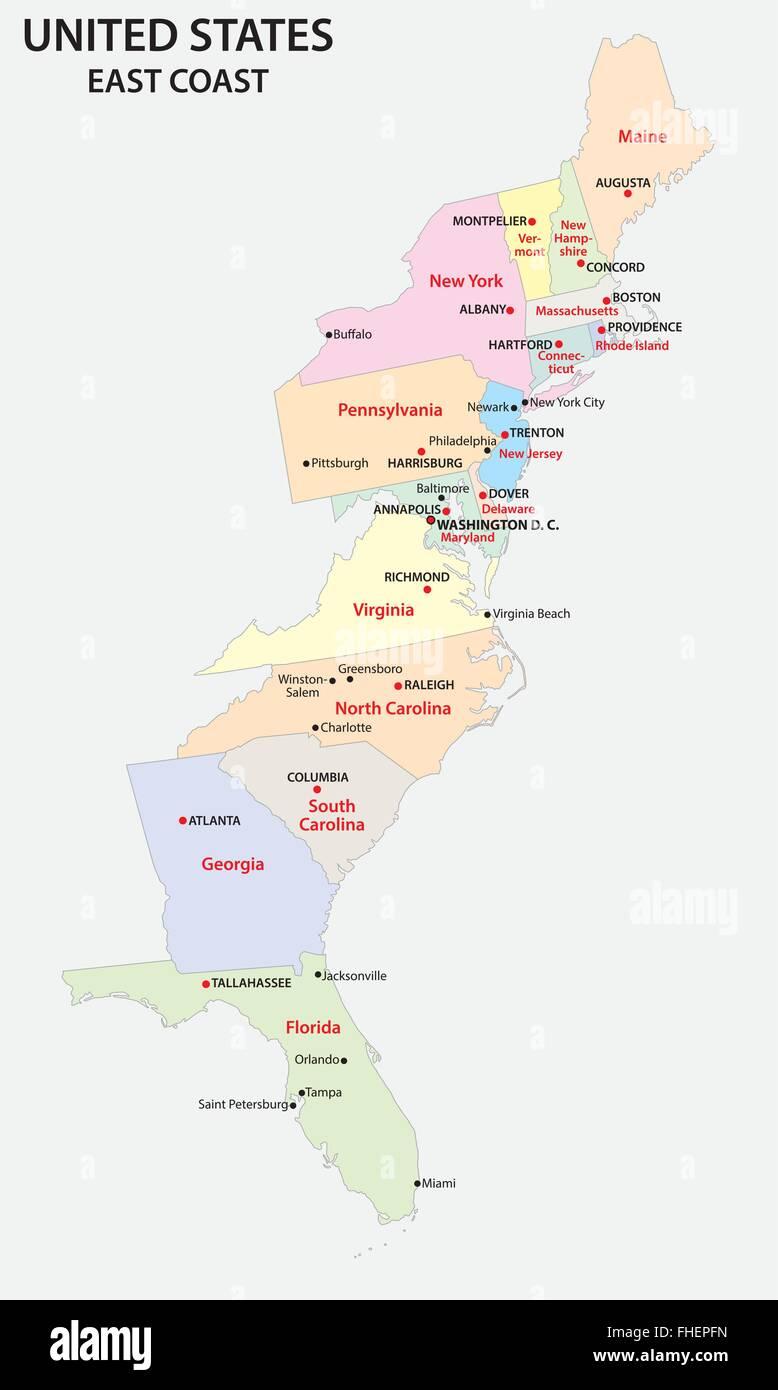 Usa Ostkuste Karte Vektor Abbildung Bild 96826009 Alamy
