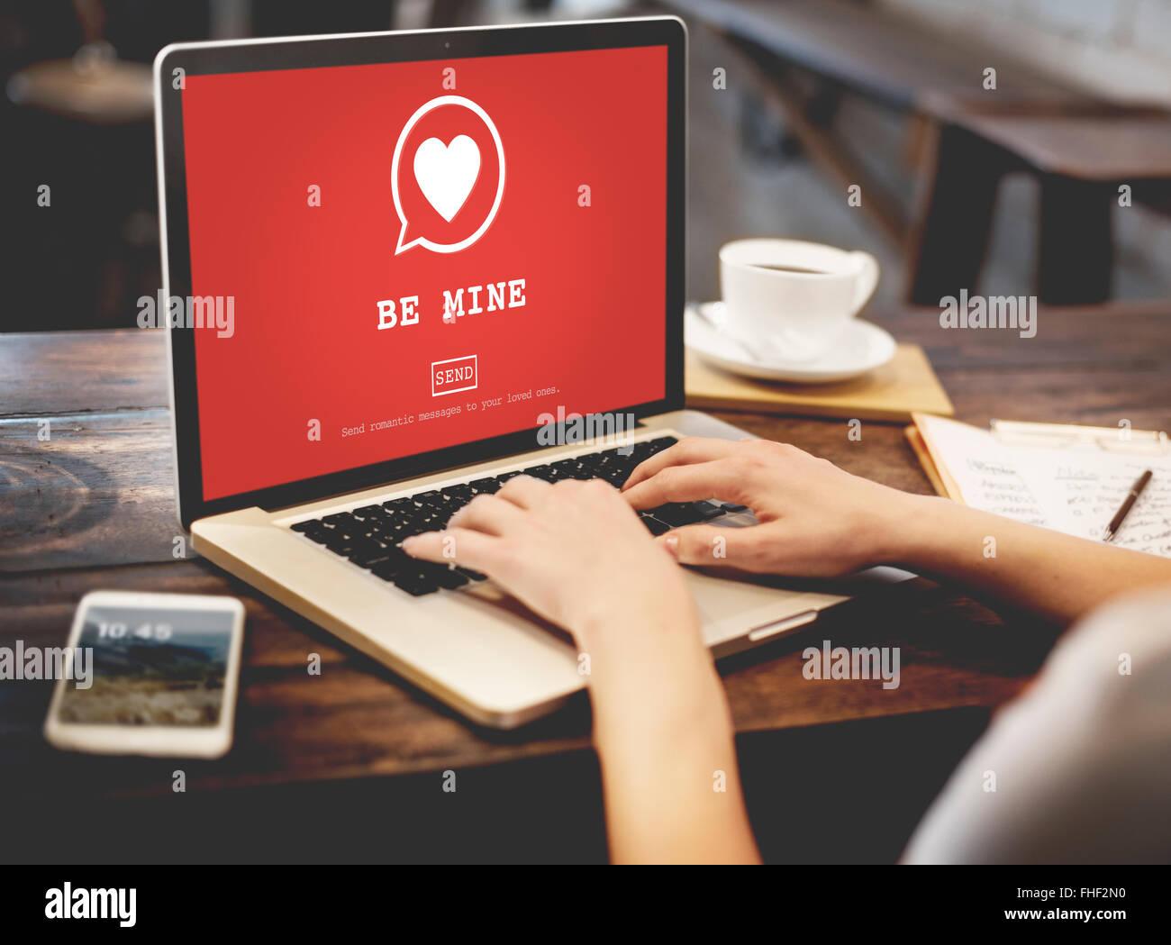 Mine Valantine Romantik Herz Liebe Leidenschaft Konzept Stockfoto