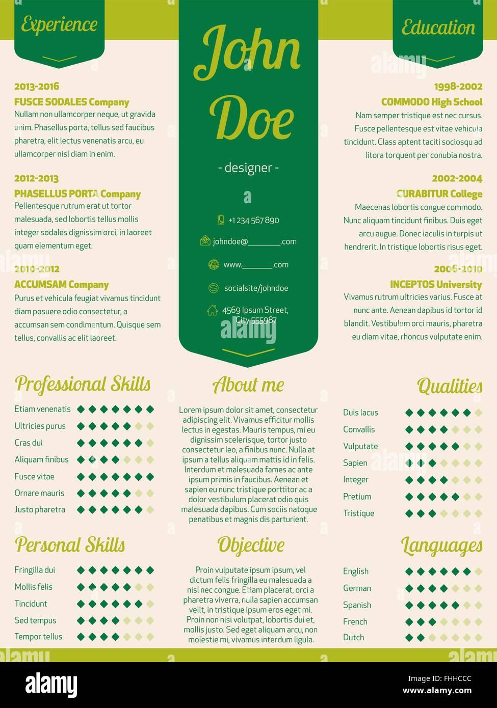 Neue moderne Lebenslauf Lebenslauf Lebenslauf Vorlage mit Grünband ...