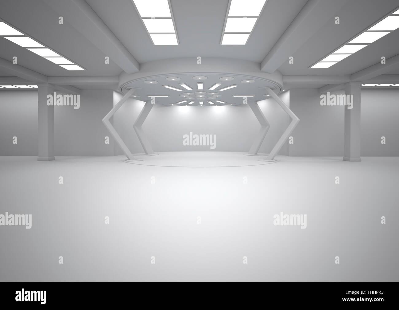 Leerer Futuristischer Raum 3d Rendering Stockfoto Bild 96892071