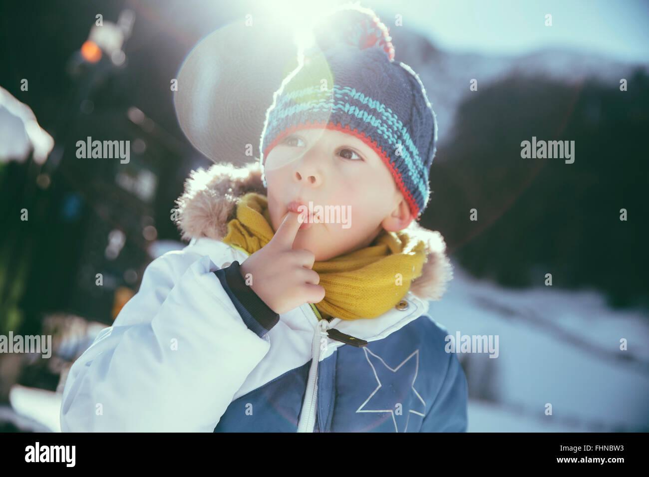 Italien, Val Venosta, Slingia, junge Schnee Essen Stockfoto