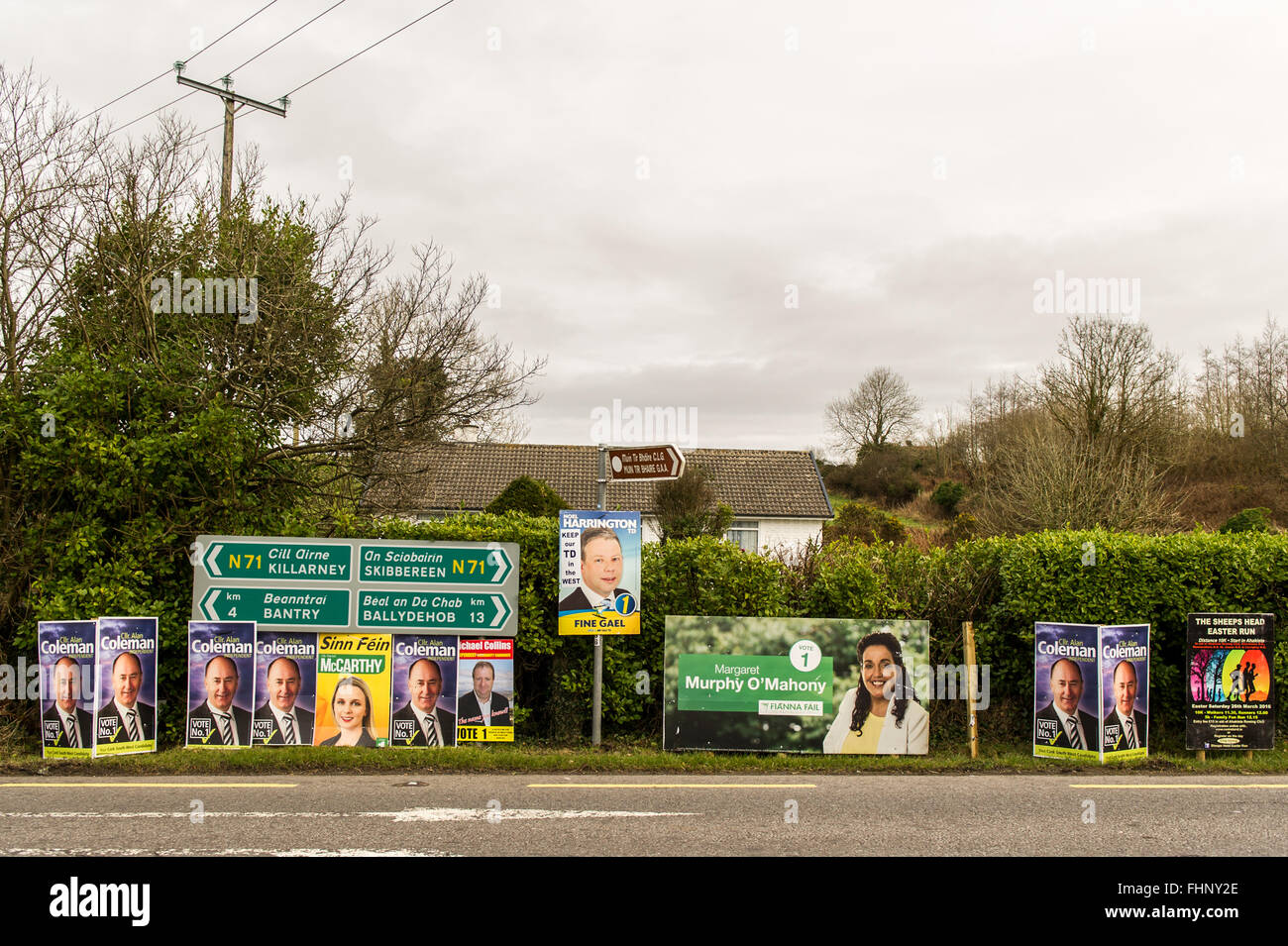 Straße West Cork Kandidat Plakate für die irischen Parlamentswahlen 2016. Stockbild
