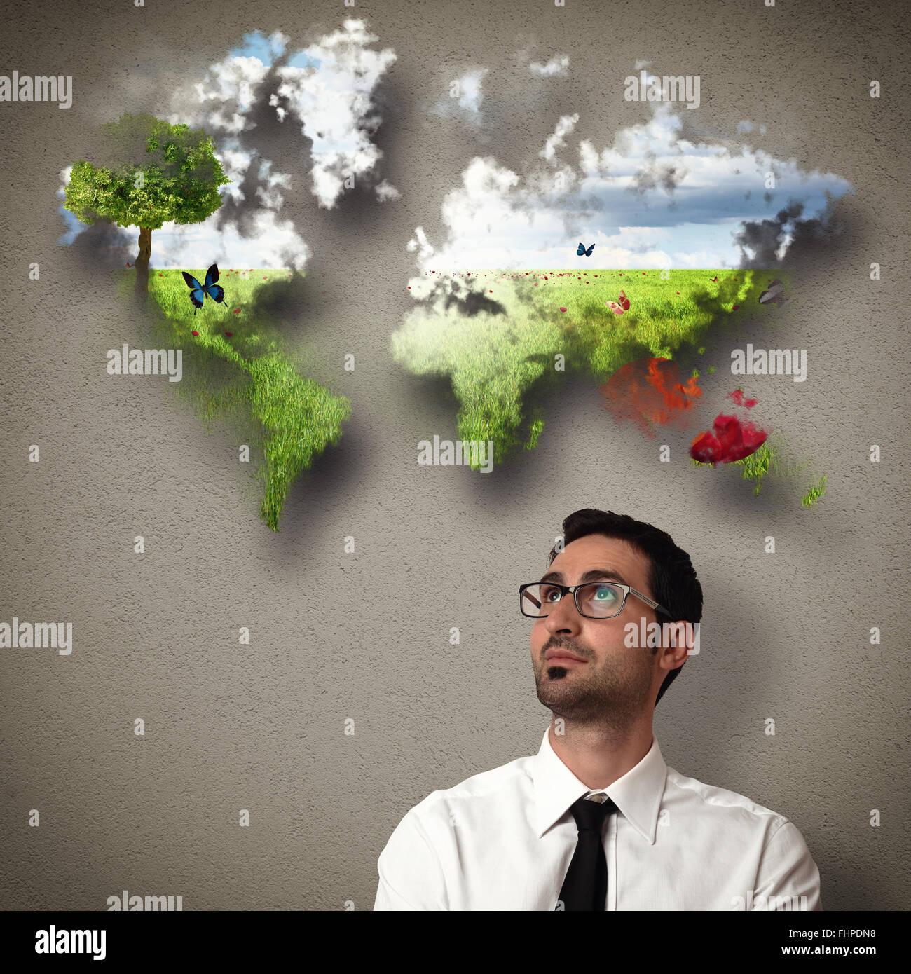 Geschäftsmann stellt eine saubere Welt Stockbild