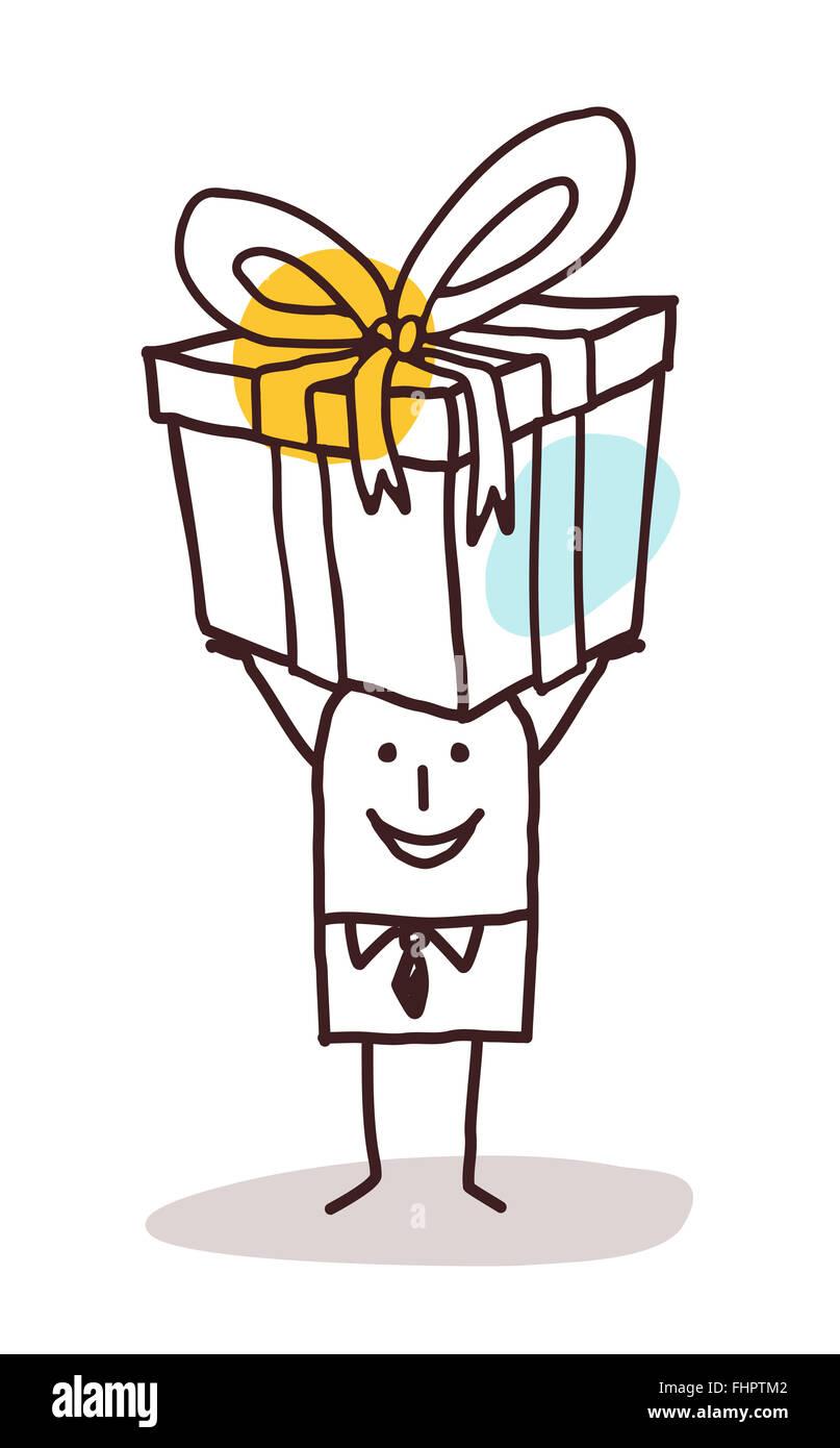 Karikatur Mann Mit Einem Grossen Geschenk Paket Stockfoto Bild
