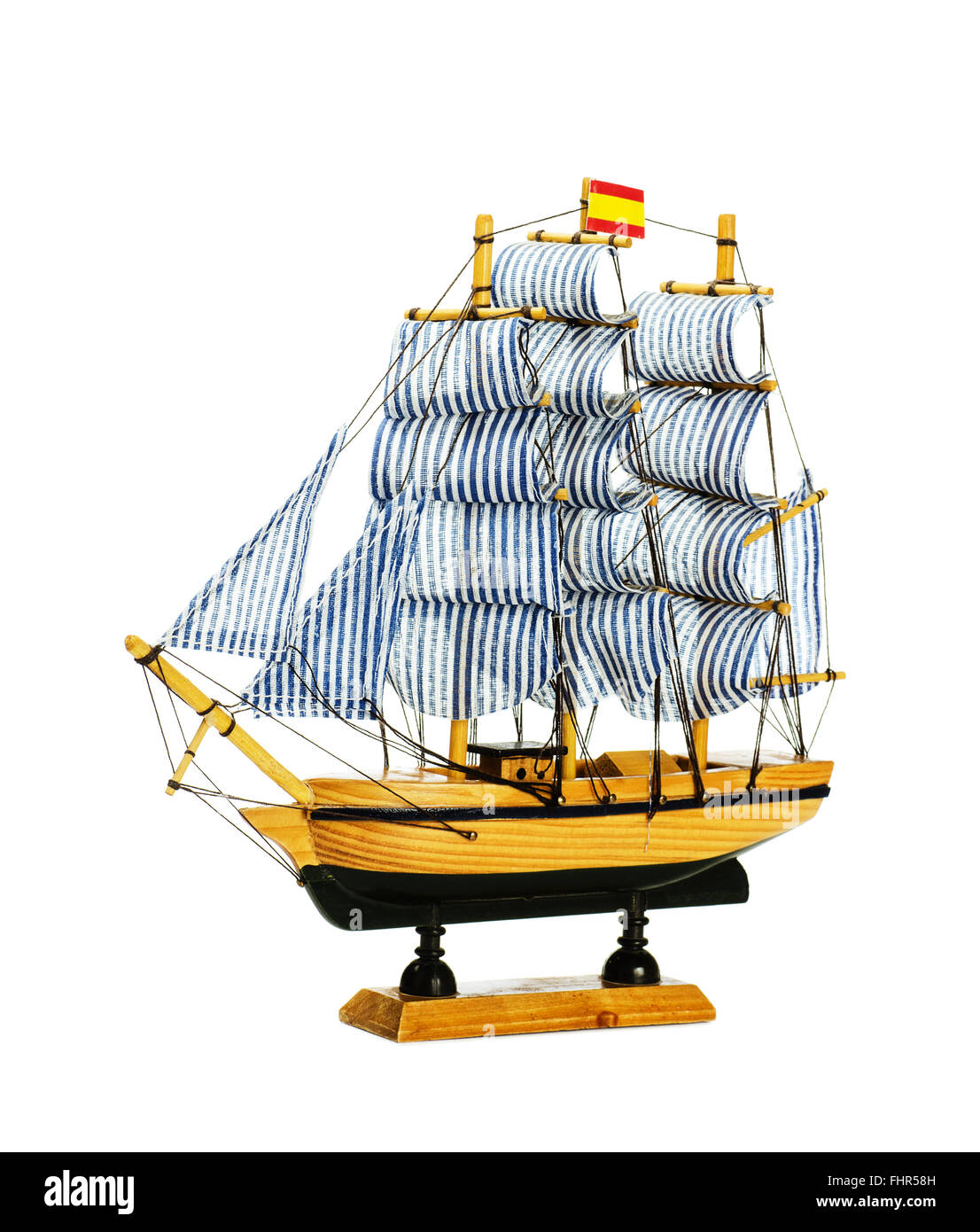 Schiffsmodell isoliert auf weißem Hintergrund Stockbild
