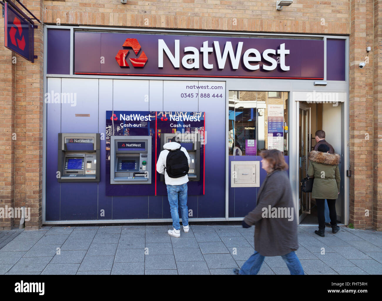 NatWest Bank, außen, Burleigh Straße Verzweigung, Cambridge UK Stockbild