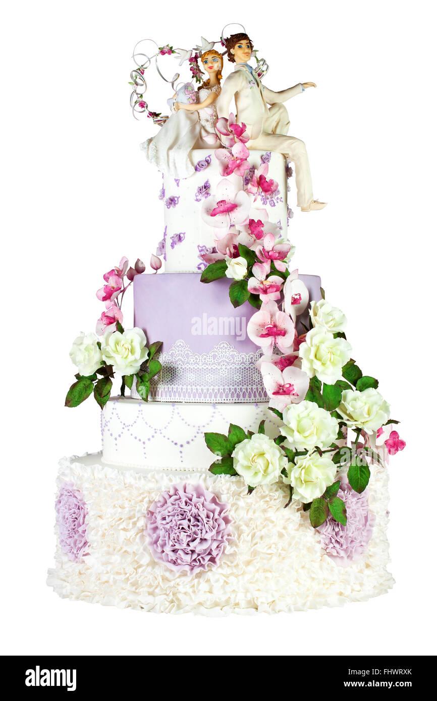 Weisse Und Violette Hochzeitstorte Dekoriert Mit Weissen Rosen Und