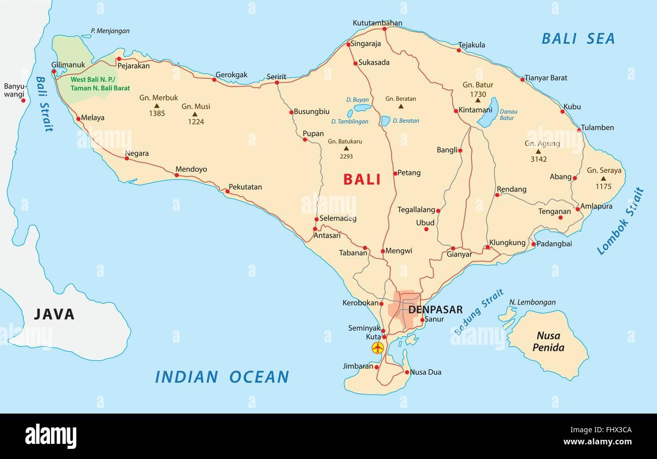 Bali Karte Asien.Bali Karte Vektor Abbildung Bild 97074442 Alamy