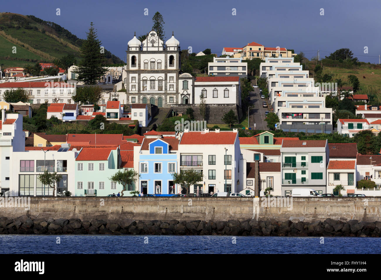 Hafen von Horta, Insel Faial, Azoren, Portugal, Europa Stockbild