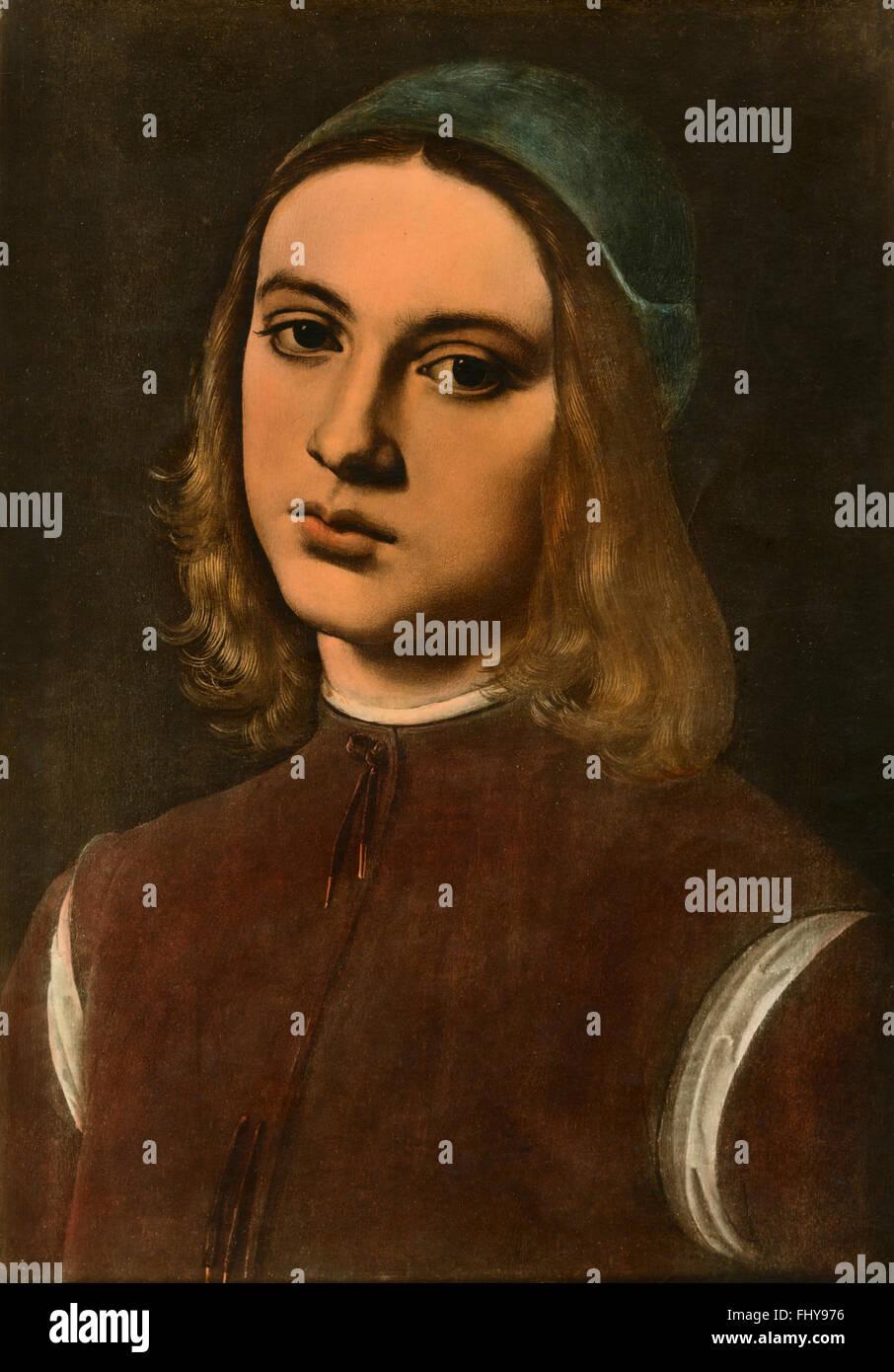 Porträt eines unbekannten, Gemälde von Perugino Stockbild