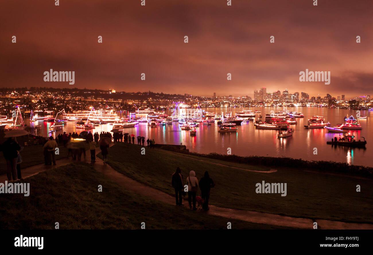 Seattle Weihnachten Schiff Festival im Gas Works Park Stockfoto ...