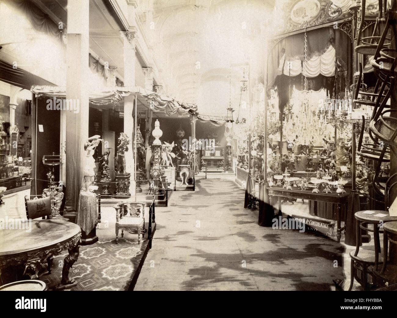 Italienischer General Exposition von Turin im Jahr 1884, bildende Kunst-Pavillon Stockbild