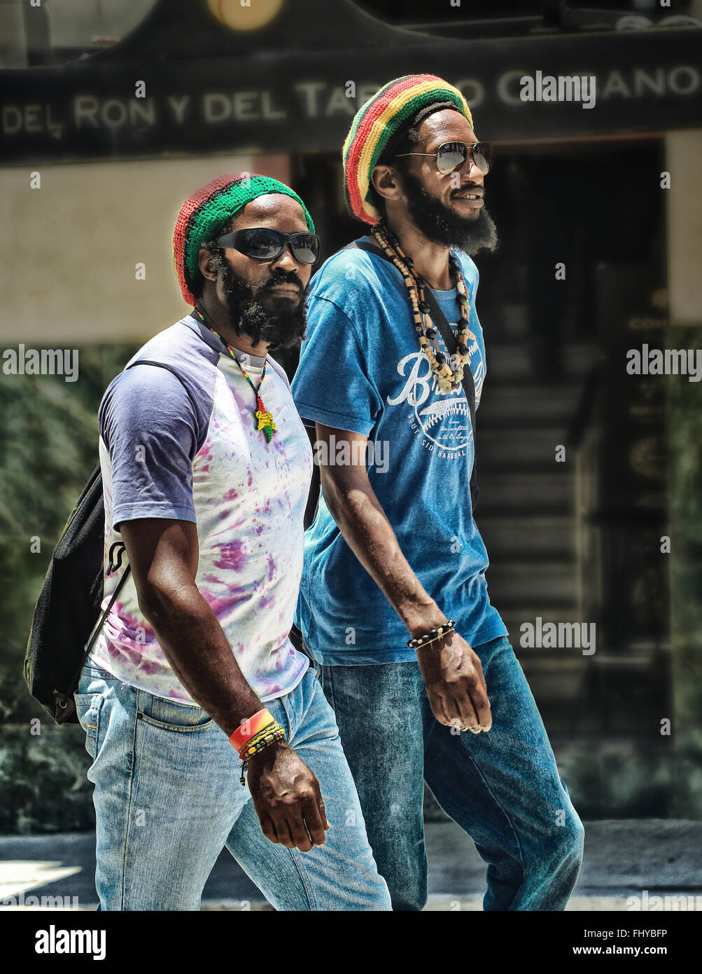 Straßenszene. Porträt von schwarzen Rastafari Kubaner Stockbild
