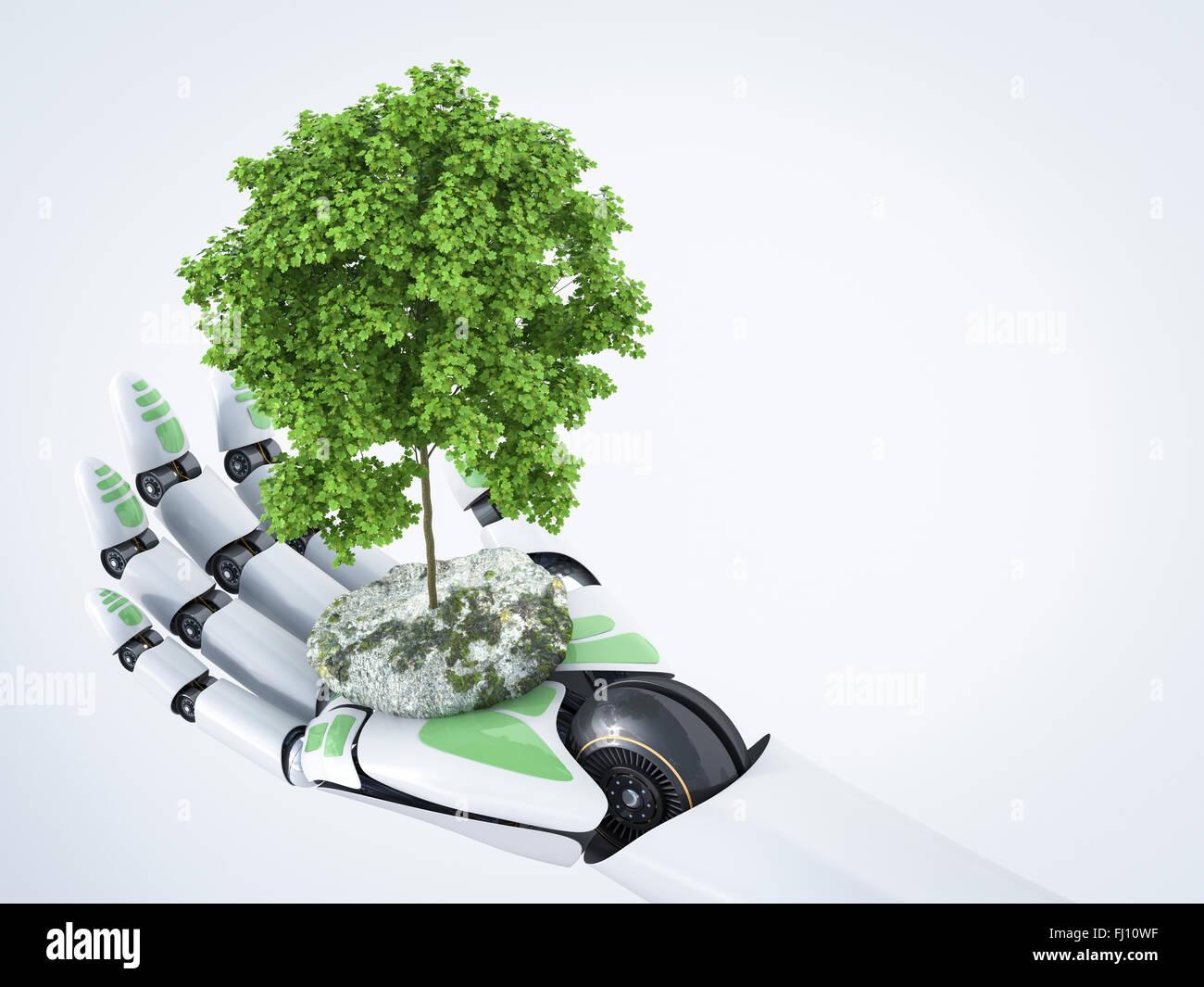3D-Rendering, Roboterhand mit Baum Stockbild